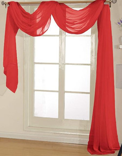 Red Sheer Valance - 54X216