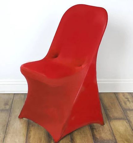 Red Spandex Folding Chair.JPG