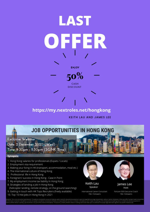 Cash of USD24.95! Yes, James Lee wants to offer a 50% discount for you to join our LIVE Webinar!
