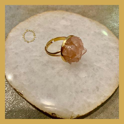 Rose Quartz ~ Crystal Cluster Ring