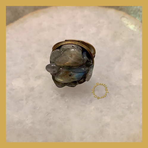 Labradorite ~ Intuitive ~ Crystal Cluster Ring