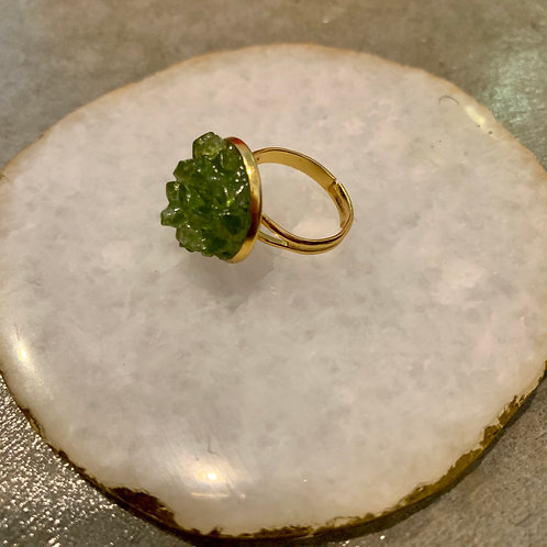 Peridot w/Gold Crystal Cluster Ring