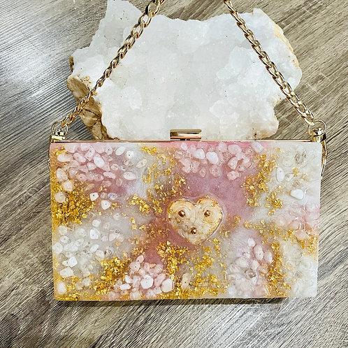 Rose Quartz/Moon Stone Crystal Purse