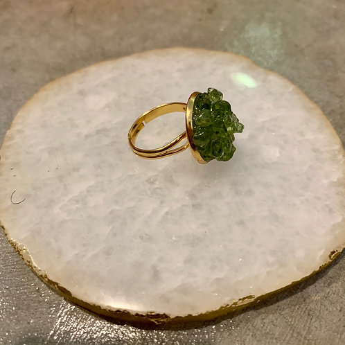 Peridot ~ Happiness ~ Crystal Cluster Ring