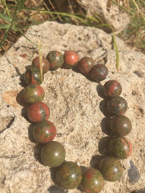 Unakite ~ Stress Relief ~ Mens/Large Unisex Crystal Bracelet