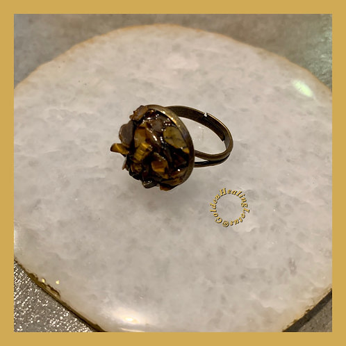 Tigers Eye ~ Grounding ~ Crystal Cluster Ring