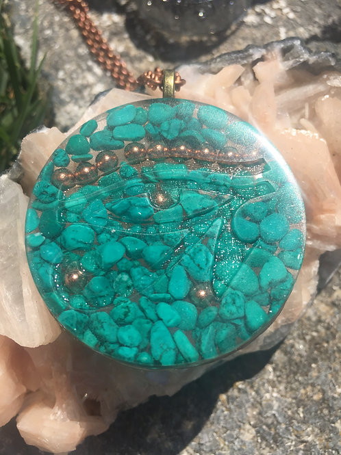 Turquoise Magnesite~Eye of Horus~Orgonite Pendant