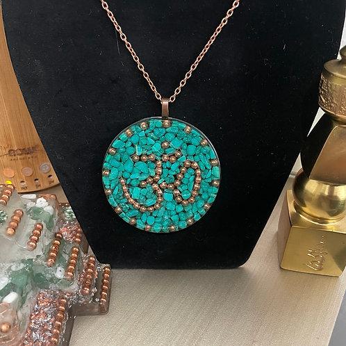"""""""Om"""" ~ Turquoise Orgonite Pendant"""