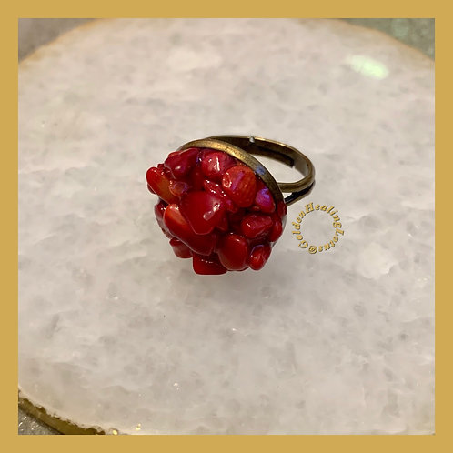 Coral ~ Stress Relief ~ Crystal Cluster Ring
