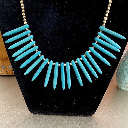 Turquoise Spike Statement Necklace