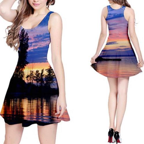 Sleeveless Fit-&-Flare Dress / YACHT CLUB SUNSET