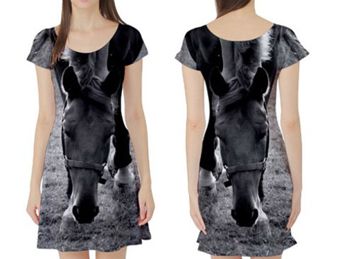 Short sleeve Fit-&-Flare Dress / HORSE