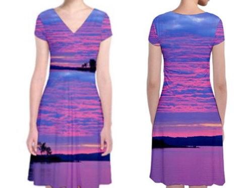 Short Sleeve Front Wrap Dress / PINK PURPLE SKY