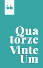 Logotipo do Selo Quatorze VinteUm. Retângulo vertical em verde com texto branco.