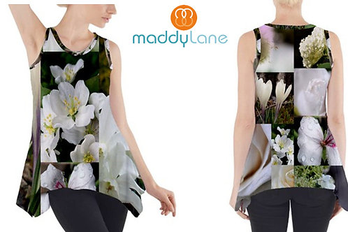 Sleeveless Tank Tunic  / WHITE FLOWERS