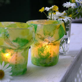 """""""Summer Patio Lanterns"""" Kids can make at home using recycled jars, vases, paper and collage them."""