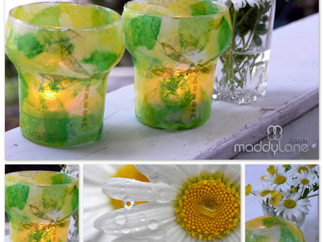 """Summer Patio Lanterns"" Kids can make at home using recycled jars, vases, paper and collage them."