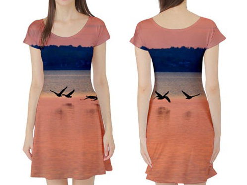 Short sleeve Fit-&-Flare Dress / PINK SUNSET