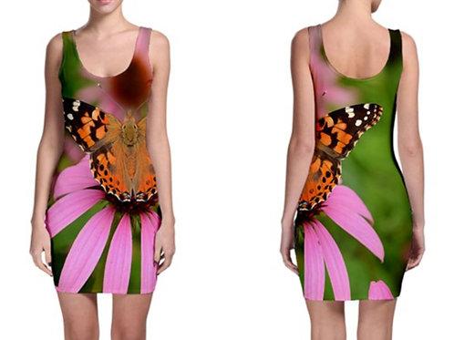 Sleeveless bodycomb dress / PINK BUTTERFLY