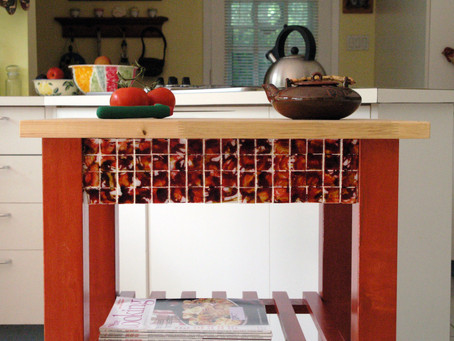 Miy Kitchen Cart ~ Wood Stains and Mosaic Kitchen Cart