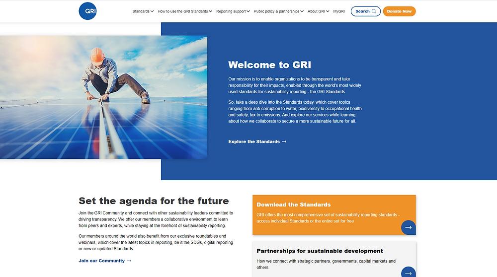 Reprodução de página inicial do site da Global Reporting Initiative (GRI)
