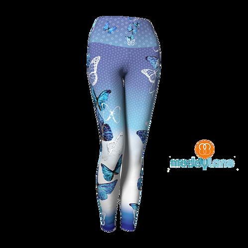 Long Yoga Pants / Papillons bleu
