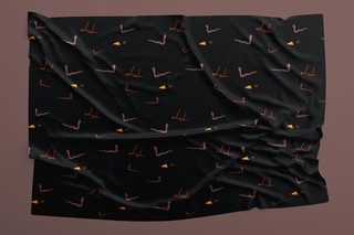 Black bird fabric design 2020