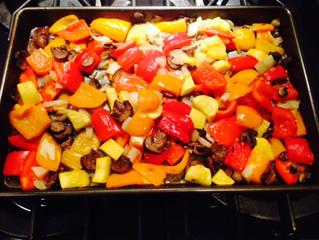 Roasted Peppers, Onions & Mushrooms