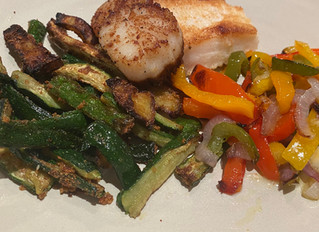Sauted Scallops & Peppers with Air Fryer Zucchini & Eggplant
