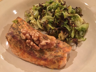Honey Mustard Glazed Salmon with Shaved Brussels Sprouts & Onions