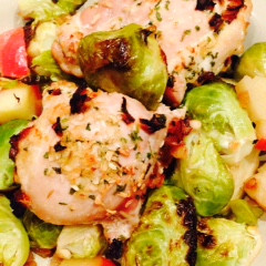 Simple Baked Chicken with Roasted Apples & Brussels Sprouts