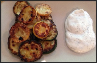 Grilled Zucchini with Yogurt Dill Dipping Sauce