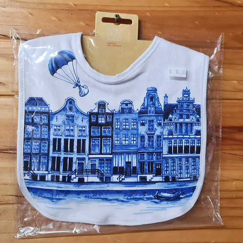 Delft Baby Bib - Canal Houses