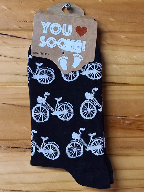 Dutch Themed Socks - White Bicycles