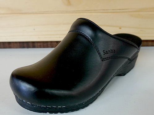 Open Back Leather Clogs
