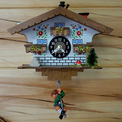 Wooden Clock with Swinging Boy & Chimney Sweep