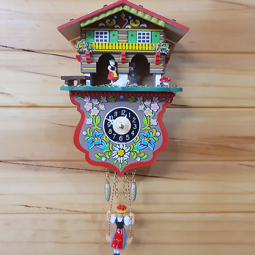 Swinging Girl Clock and Weather House (Chime)