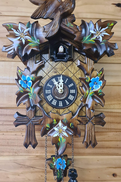 Musical Quartz Cuckoo Clock - Blue Flowers