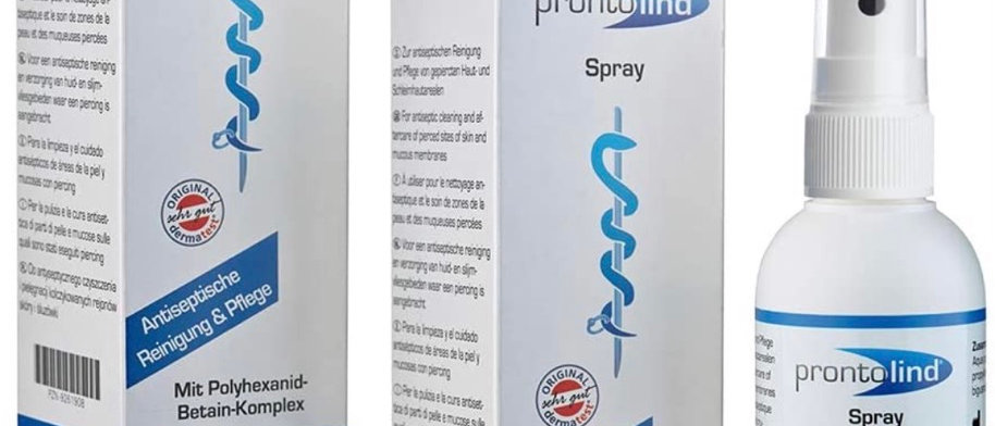 Prontolind Spray 75ml - For antibacterial cleaning and care of piercings, tunnel