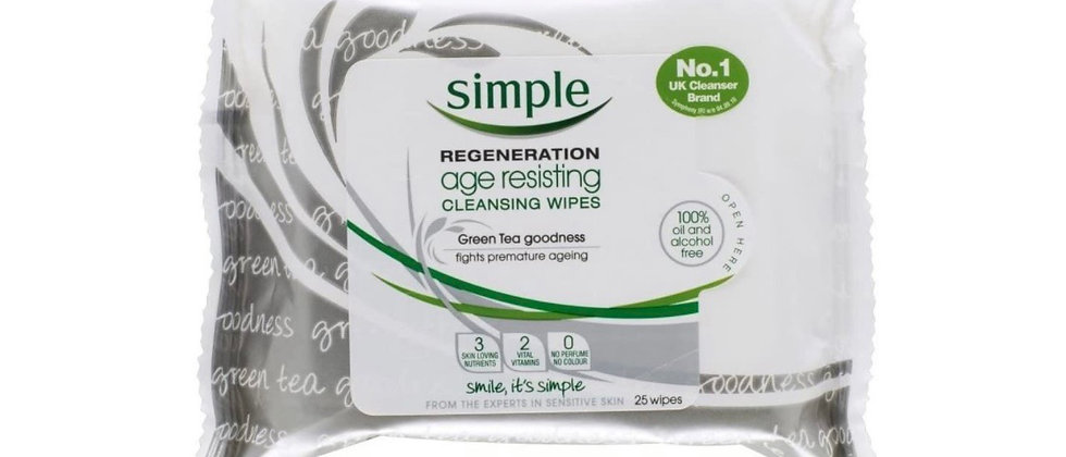 Simple Regeneration Age Resisting Cleansing Wipes 25 per Pack Case of 6