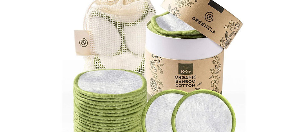 Greenzla Reusable Makeup Remover Pads (20 Pack) With Washable Laundry Bag And Ro