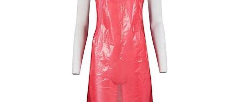 Disposable Plastic Aprons – Roll of 100 Aprons (Red)