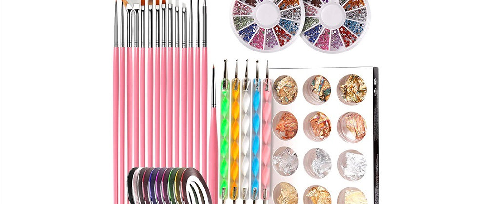 Nail Pen Designer, Teenitor Stamp Nail Art Tool with 15pcs Nail Painting Brushes