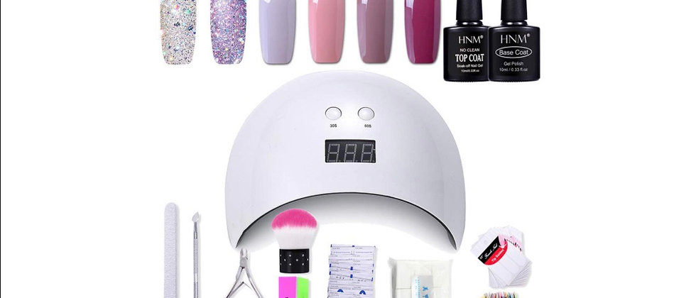Gel Nail Polish HNM 6 Gel Nail Starter Kit with 24W LED Curing Lamp Base and Top