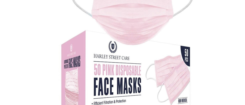 Harley Street Care Disposable Pink Face Masks Protective 3 Ply Breathable Triple