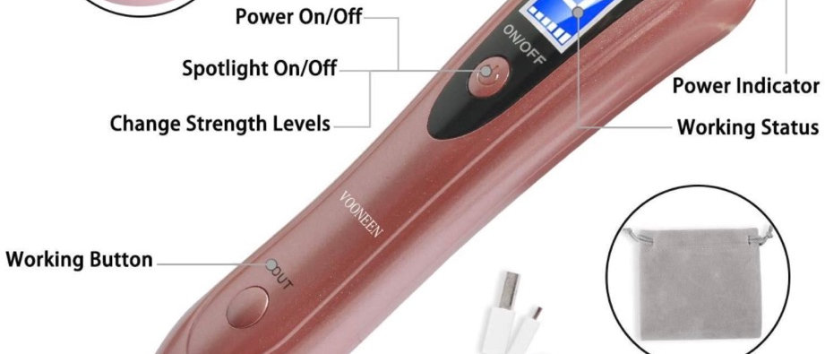 Skin Tags Remover Pen, VOONEEN Mole Remover with 9 Strength Levels &LED Spotligh