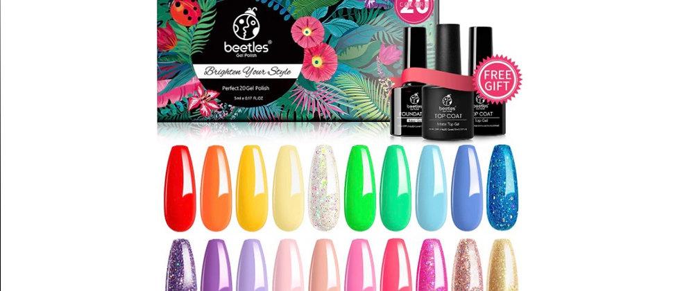 Beetles 23 Pcs Rainbow Summer Gel Nail Polish Set,Blue Glitter Purple Nude Pink