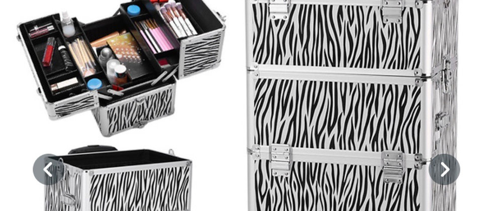Multifunctional 4 in 1 Aluminium Alloy Cosmetic make up case white zabra print