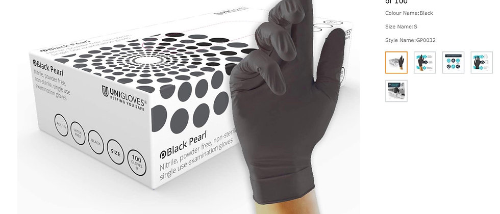 UNIGLOVES GP0032 Pearl Powder Free Nitrile Gloves-Boxed x100, Black, Small, Set