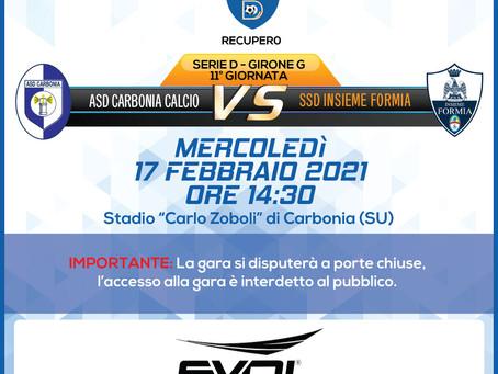 Recupero 11° di Campionato - Carbonia Vs Insieme Formia
